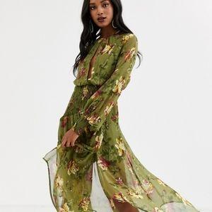 NWT ASOS Drop Waist Shirred Floral Midaxi Dress